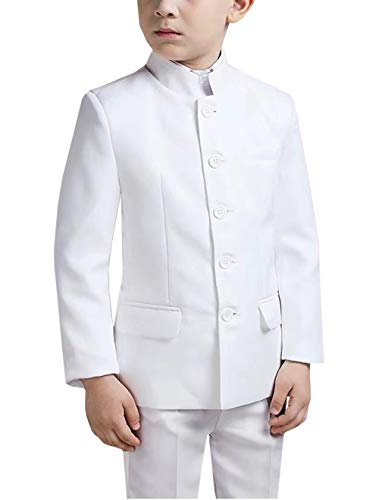 Boys Suits 2-Piece Vintage Style Mandarin Collar Formal Dresswear Kids Wedding Tuxedos(Blazer+Pants)(White,10