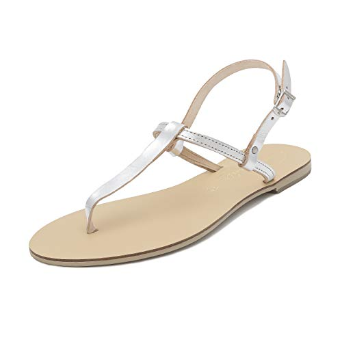 Handmade Sandals EU Flat Thong Maia UK Leather Strap Heel Shoes Silver 3 Schmick Natural Women 36 Summer Ankle PdqawUfUx