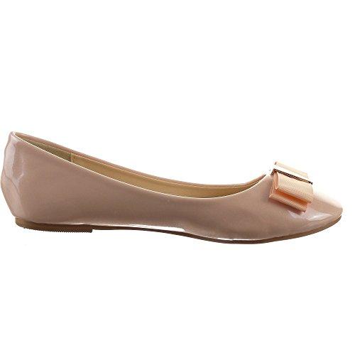 Sopily - damen Mode Schuhe Ballerina Knoten Schleife - Rosa