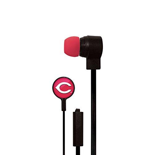 (Mizco MLB Cincinnati Reds Big Logo Cord Earbuds, Small, Black)