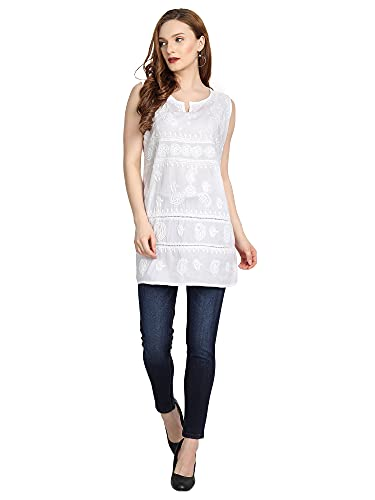 House Of Kari Cotton Premium Full Sleeve Regular Collar Hand Embroidery Chickenkari Tunic Topwear for Women   Stylish Casual   Fancy – White White for Women