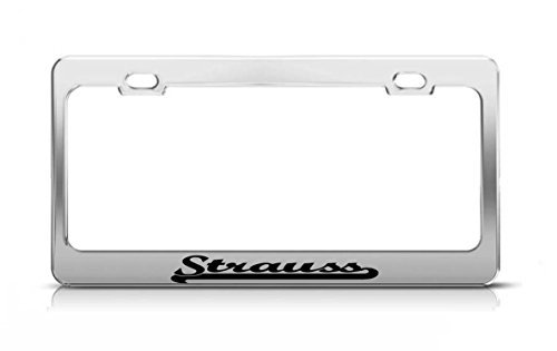 Price comparison product image Strauss Last Name Ancestry Metal Chrome Tag Holder License Plate Cover Frame License Tag Holder