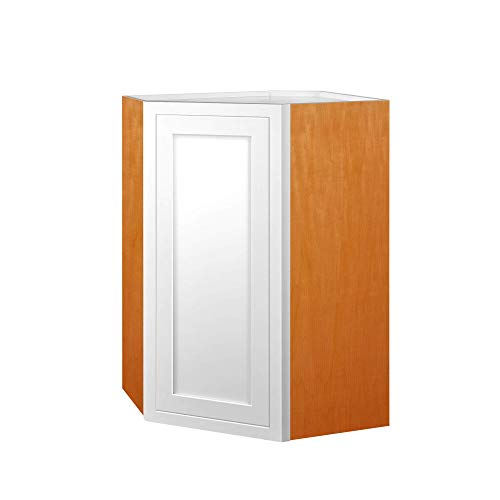 - Inset Modern Shaker Style RTA Birch Wood Wall Diagonal Corner Storage Cabinet for Kitchen 27-Inch Wide, 30-Inch High and 14-Inch Deep with One Solid Door and Two Shelf Boards
