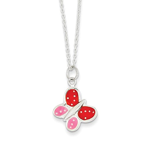 Sterling Silver Pink & Red Enameled Butterfly Necklace 18 Inches - Red Enameled Butterfly Charm