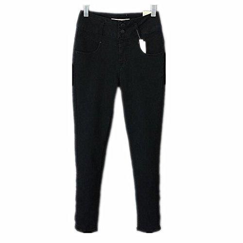 Wgwioo Jeans Pitillo Rasgados Apenado Pocket Slim Clásico Botón Largo Color Sólido Suelto Casual De Las Mujeres Black