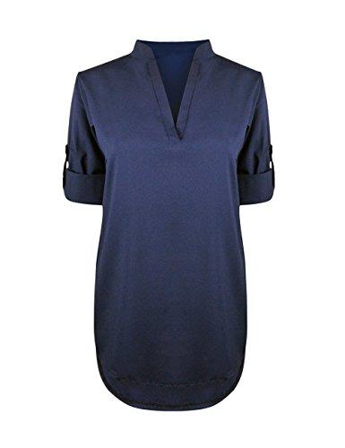 Femme Manches Haut Blouse Robe Longue Col Mousseline Mini Chemise Cindeyar Poche Lache V Tunique Bleu OExda