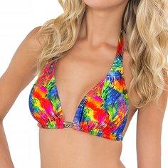 Luli Fama Women's Mundo De Colores D/DD Cup Triangle Halter Bikini Top, Multi, DD