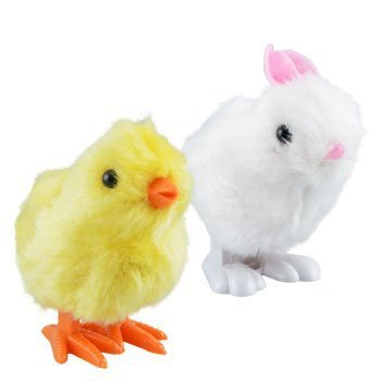 - Plush Pair of Hopping Wind-Up Friends! - Bunny AND Chick - Combo Pack of 2 (Colors May Vary)