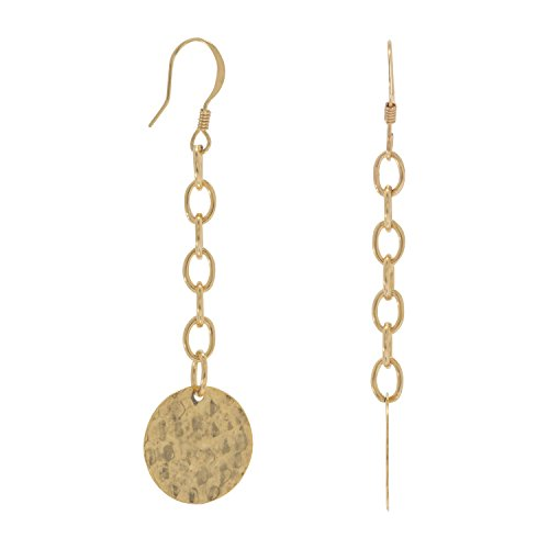 Hammered Gold Tone Base Metal 16mm Disk Drop Fashion French Wire Earrings Drops 2.5 Inch Base Metal