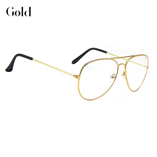 Littlegrass Aviator Glasses Clear Lens Retro Metal Frame Eyeglasses Fashion Eyewear Non-Prescription Gold Grey Black Silver for Women Men (Aviator - Cool Glasses Prescription Non