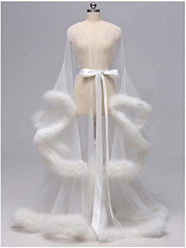 Feather Robe - Sexy Feather Bridal Robe Tulle Illusion Long Wedding Scarf New Custom Made (Ivory, Medium)