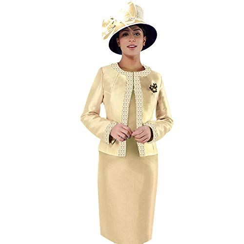 Kueeni Women Church Suits with Hats Church Dress Suit for Ladies Formal Church Clothes (Champagne hat&Suit, 14)
