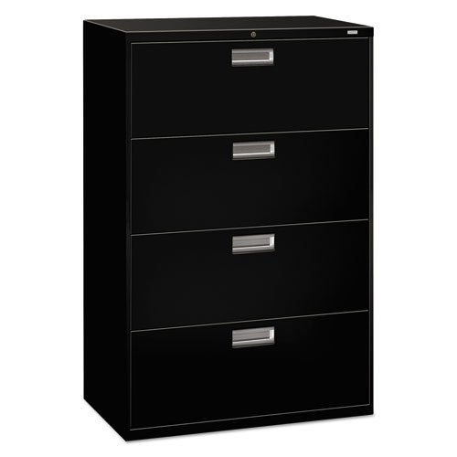 "The HON Company H684.L.P HON684LP HON 4-Drawer Office Cabinet-600 Series Lateral Legal or Letter File Cabinet, 19.75"" D), 4-Drawer Black"