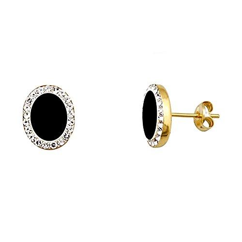 Boucled'oreille or 18k 8mm ovale. zircons Onyx [AA5516]