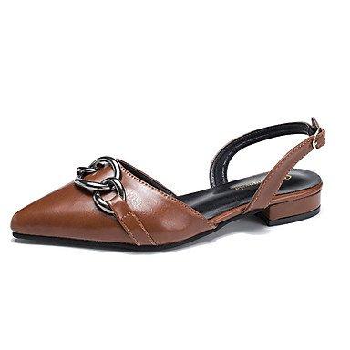 Primavera Tacón Caqui Zapatos Brown Marrón For Negro Womens FSCHOOLY Pu Sandalias Otoño Bajo Casual De Comfort qwt8x64