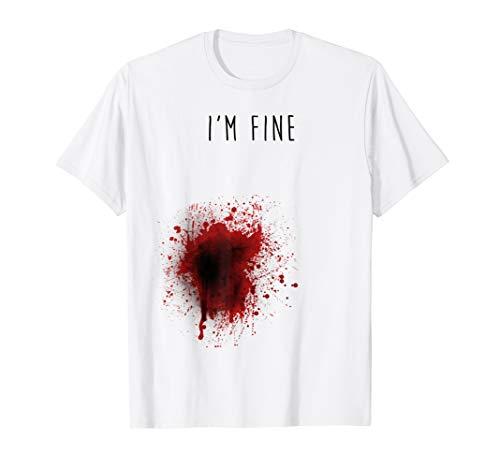 White T Shirt Halloween Blood (I'm Fine T-shirt)