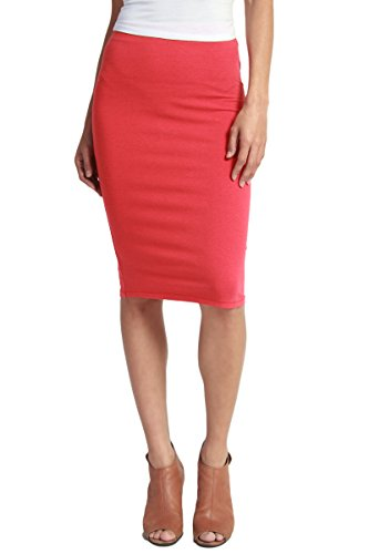 [TheMogan Women's Washed Cotton Blend High Waist Midi Pencil Skirt Red L] (Blend Pencil Skirt)
