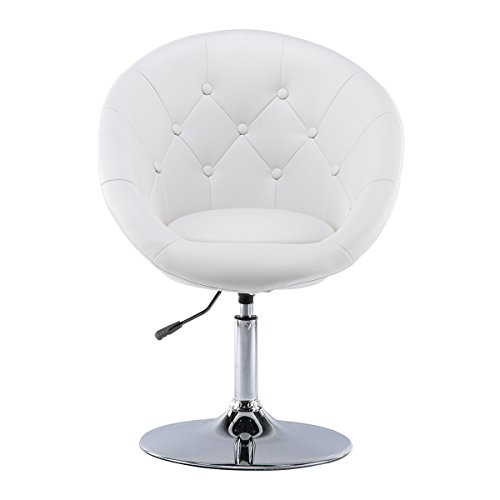 Dining Room Round Chair (Round Back Leather Swivel Height Adjustable Office Chair Living Room Sofa Dining Bar Stools by Chiming, White)