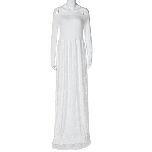 Nursing Abiti Abito Spalle Fuori Bianco Vestito Elegante Fotografici Lungo Pizzo Donna Maxi Gestanti Puntelli Premaman Topgrowth Di OXTHqdwxq
