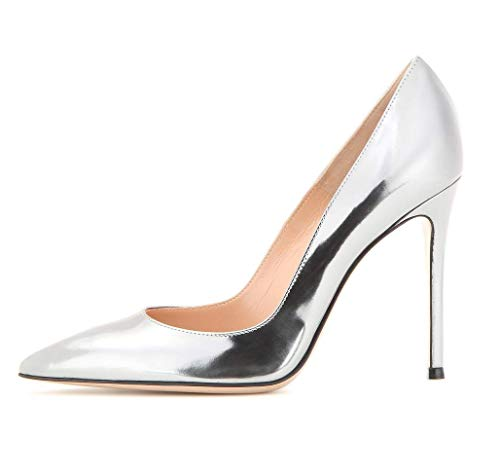 Sammitop Women's Pointed Toe Metallic High Heels Sexy Stiletto Pumps Silver Dress Shoes US9.5