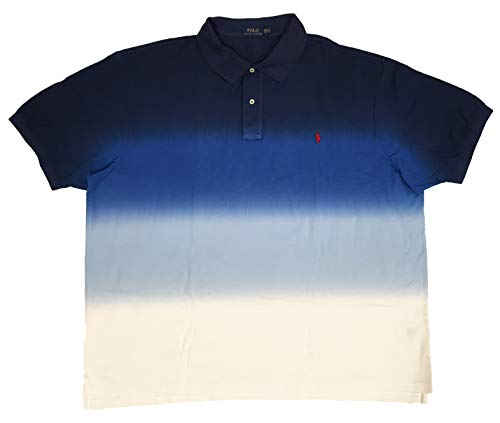 (Polo Ralph Lauren Mens Big & Tall Signature Waffle Knit Polo Shirt (XXXX-Large Tall, Navy/White Dip-Dye))