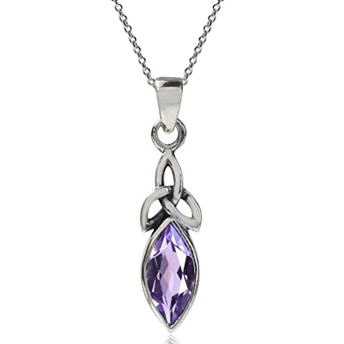 1ct. Natural Amethyst 925 Sterling Silver Triquetra Celtic Knot Pendant w/ 18 Inch Chain Necklace