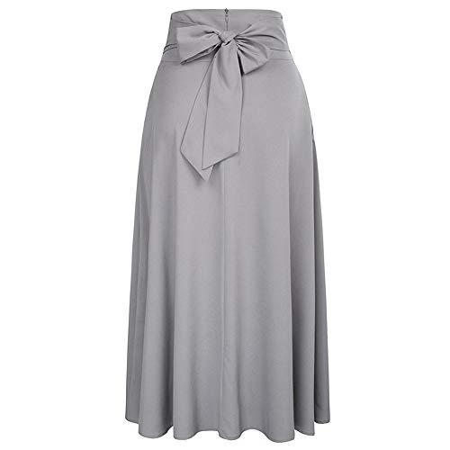 Haute Yalatan ceinture Robe avec plisse Taille Longues Poches Vintage Jupes Gris Ceinture Fendue Jupe xrxwp4q0t
