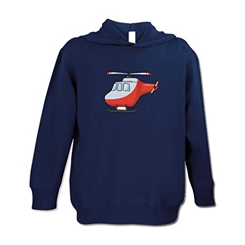 Cute Rascals Helicopter Cotton/Polyester Long Sleeve Boys-Girls Toddler Hooded Fleece Pullover Hoodie - Navy, 5/6T