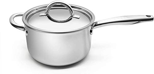Fortune Candy 4-Quart Saucepan with Lid, Tri-Ply, 18/8 Stainless Steel, Advanced Welding Technology, Dishwasher Safe…