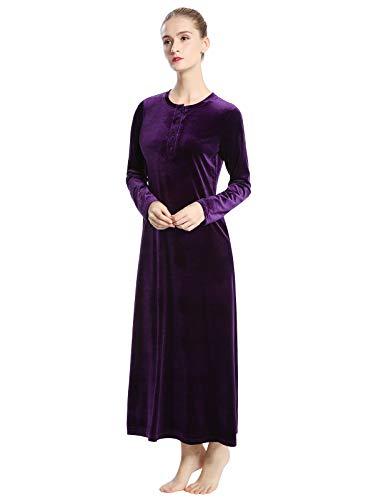 AMONIDA Luxurious Velvet Long Nightgown for Women Winter Button Pajama (Purple, 2X-Large)