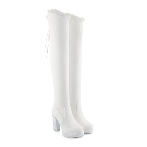 Rongzhi Womens Over The Knee Boots Thick Block High Heels Platform Lace Up Round Toe Thigh Boots Dress