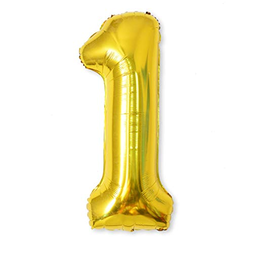 - Balloon Number, 40 inch Gold Foil Balloons Numbers Mylar 0-9 Birthday Party Decorations of Arabic Number for Birthday Party, Wedding, Bridal Shower, Engagement Photo Shoot, Anniversary (1)