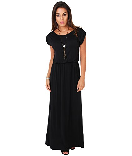 3269-BLK-08: KRISP Maxi Dress,Black,UK 8/US 4