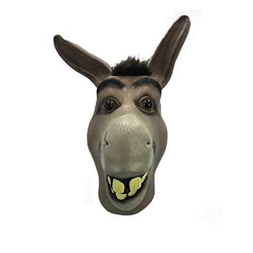 Shrek Mask Halloween (Donkey Mask,Halloween Shrek Donkey Face Mask, Novelty Deluxe Costume Party Cosplay Latex Animal Head Mask Adult)