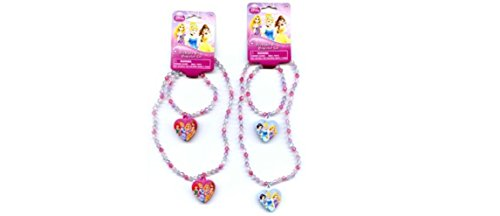 Disney Princess Bead necklace and Bracelet Set x 2 Set (1 Pink 1 Blue)]()