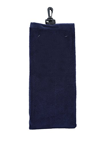 "16"" x 25"" Golf Sports Tri-Fold Hemmed Towel with Snap Hook (Navy Blue)"