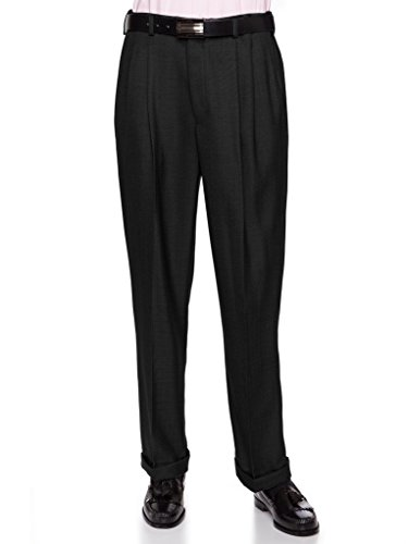 GIOVANNI UOMO Mens Pleated Front Dress Pants with Hidden Expandable Waist Black-38 Short -