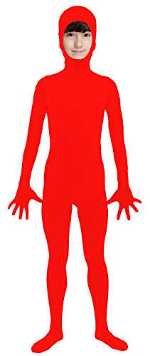 VSVO Kids Red Open Face Full Body Zentai Supersuit Costumes (Large, Red)