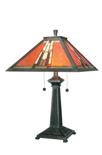 Dale Tiffany TT100716 Amber Monarch Table Lamp, Mica Bronze and Art Glass/Mica Shade Dale Tiffany Mica Mission Table Lamp