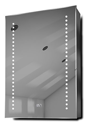 DIAMOND X COLLECTION Ghita Clock LED Bathroom Mirrored Cabinet with Demister Pad, -