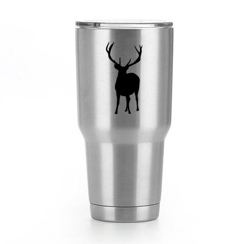 Deer Buck Hunting Vinyl Decal Sticker (2 Pack!!!) | Yeti Tumbler Cup Ozark Trail RTIC Orca | Decals Only! Cup not Included! | Black | 2-3 X 2.6 inch | KCD1794