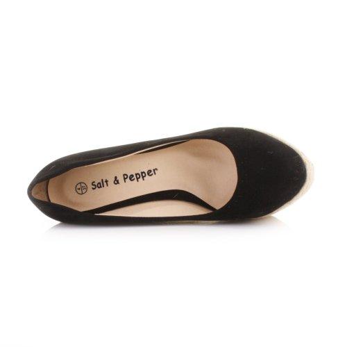 Womens Black Platform Wedge High Heel Shoes SIZE 6 gt1wkgSg8p