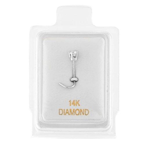 14K White Gold 1.7mm .02 cttw Diamond Nose Ring Curve Stud Twist Screw 22G (Gold Twist White)