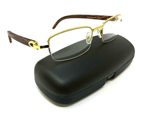 Debonair Slim Half Rim Rectangular Metal & Wood Eyeglasses/Clear Lens Sunglasses - Frames (Gold & Cherry Wood w/Case, Clear)
