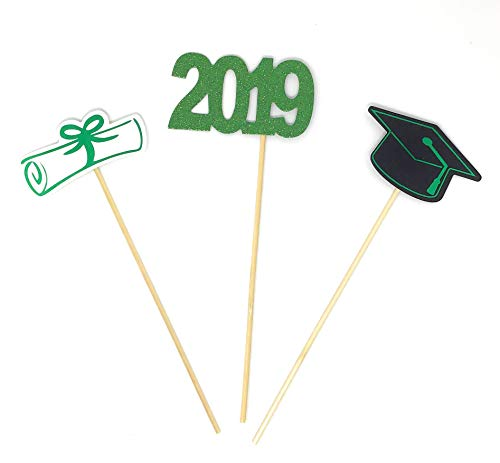 PaperGala Double Sided Graduation 2019 Centerpiece Sticks Set of 3 Graduation Hat Diploma Year Floral Picks Glitter and Foil (Green-2019) -