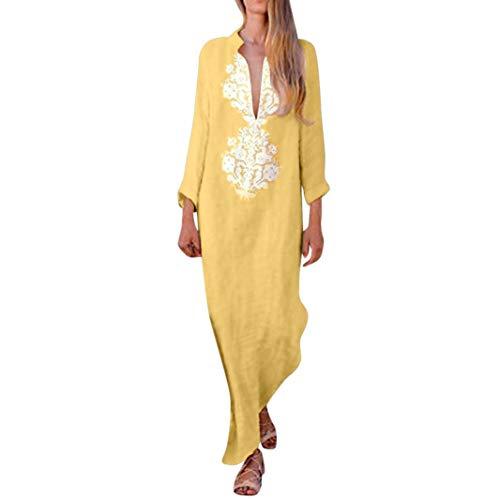 - Womens Snowflake Printed Long Sleeve Split Hem Baggy Kaftan Long Maxi Dress Yellow