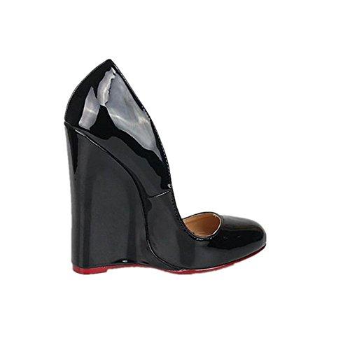 cale Eté Super Chaussures Printemps Rouge Sexy Artificielle Haut New Discothèque Prom Imperméable Talon PU EUR45UK105 Automne Dames NVXIE Dressy Noir Femmes 0FgqwwC