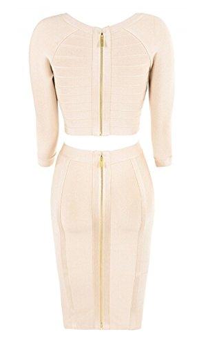 Whoinshop da donna 2pezzi Set manica lunga Celebrity Bodycon Bandage Dress