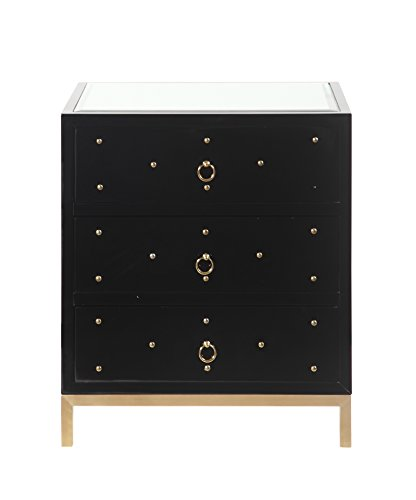 Iconic Home Prato Nightstand Side Table Mirror Glass Top with 3 Self Closing Lacquer Drawers Brass Finished Stainless Steel Frame Base, Modern Contemporary, Black - Lacquer Finished