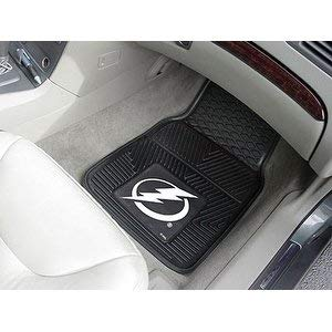 2 Piece NHL Lightning Car Mats, Football Themed Floor Mats for Cars Trucks SUVs RVs Van Truck Carpet Rugs Universal Size Fit Sports Fan Gift, Heavy Duty Durable Vinyl, Black, - Lightning Tampa Bay Set Bed